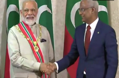 PM Modi conferred with Maldives' highest honour 'Rule of Nishan Izzuddeen'