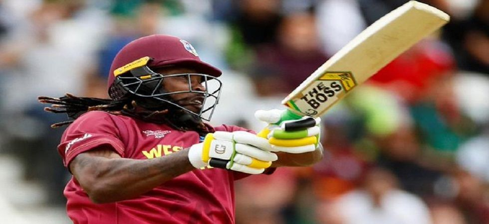 Chris Gayle was denied permission to use the 'Universe Boss' logo on his bat by the ICC. (Image credit: Twitter)