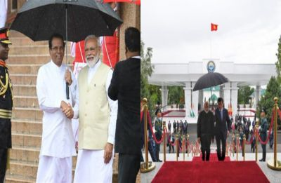 PM Modi deeply touched after Kyrgyzstan, Sri Lankan presidents personally hold umbrella for him
