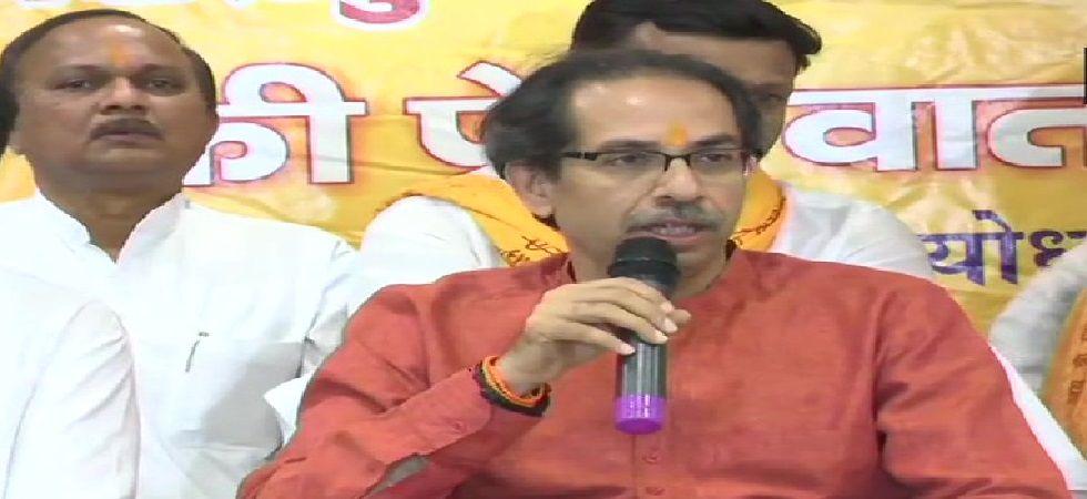 Shiv Sena chief Uddhav Thackeray addresses a press meet in Ayodhya after visiting Ram Lalla. (Photo: ANI)
