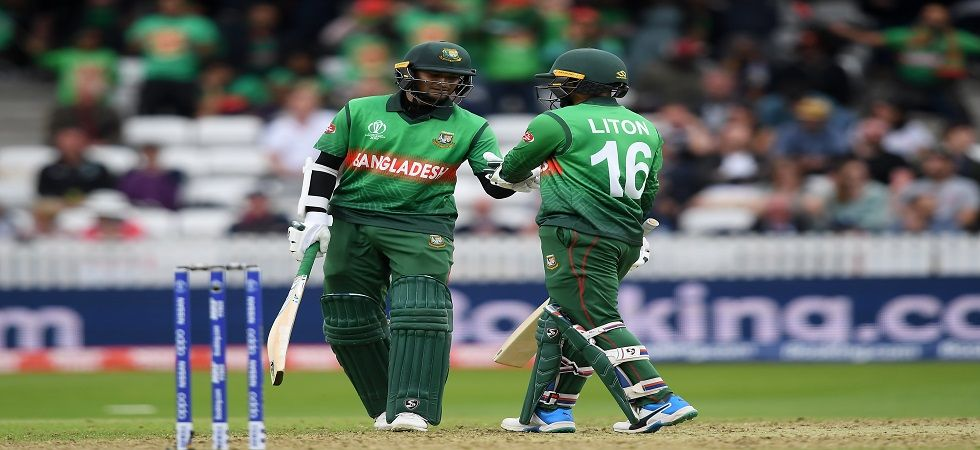Shakib Al Hasan's century and his 189-run stand with Liton Das helped Bangladesh thrash West Indies by seven wickets in the ICC Cricket World Cup clash in Taunton. (Image credit: Getty Images)