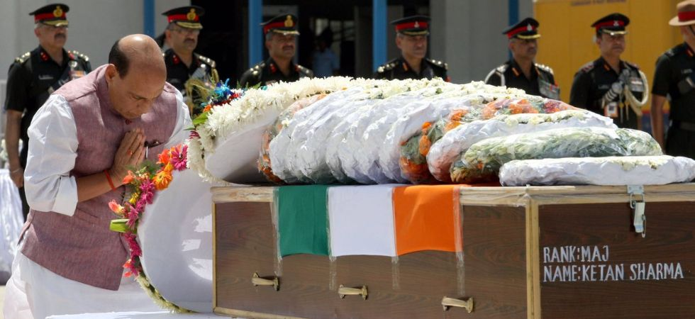 'Major Sharma fought valiantly like a true soldier. My heart goes out to his bereaved family,' Rajnath Singh said. (Image credit: Twitter)