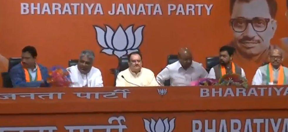 JP Nadda with rebel TDP lawmakers. (Screengrab)