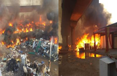 Fire breaks out in furniture market near Kalindi Kunj Metro station, train services on Magenta Line hit