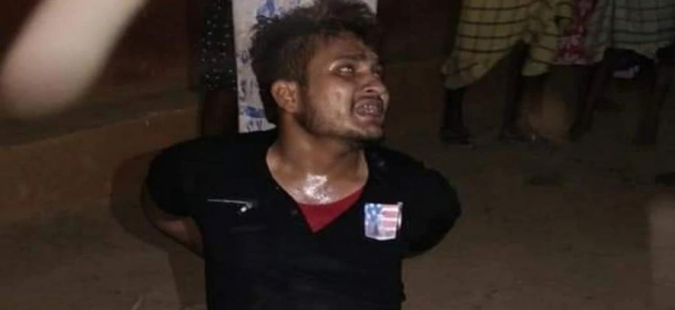 Muslim man brutally thrashed by an angry mob (Photo Source: Twitter)