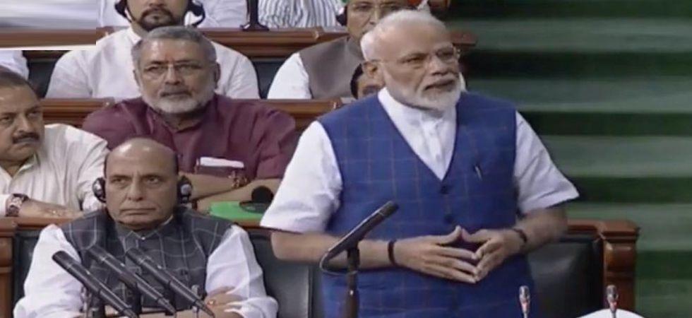 Prime Minister Narendra Modi addresses Parliament