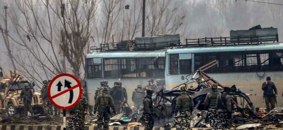 Photo of damaged vehicles after a suicide bomber hit CRPF convoy on February 14, 2019. (Courtesy:PTI)
