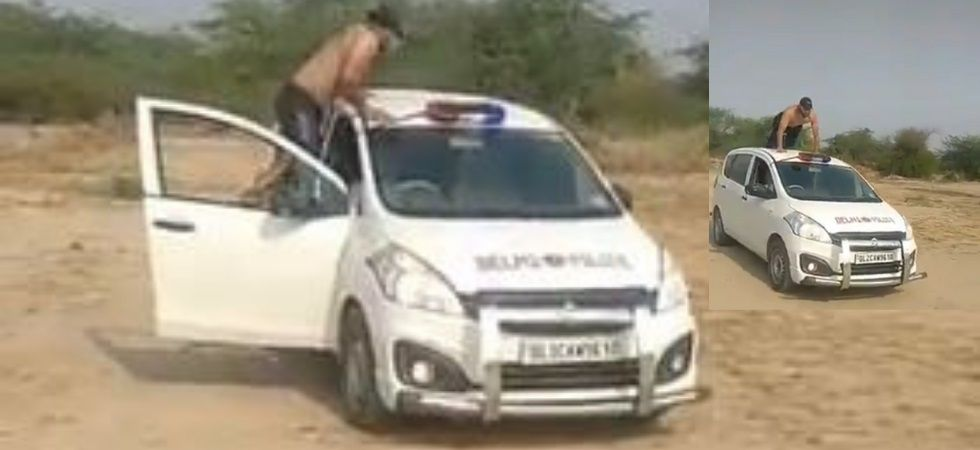 The vehicle that has a beacon light mounted on the top and 'Delhi Police' written on the bonnet was hired by the police, the officer added.
