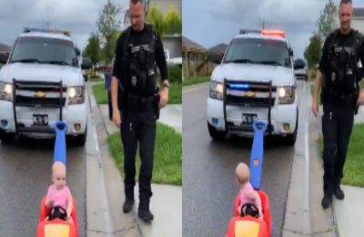 Cop 'pulls over' 10-month-old daughter for driving on wrong side, her reaction is too cute for words!
