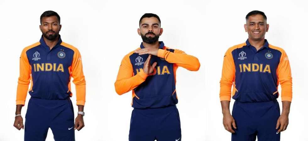 India's orange and blue jersey was officially unveiled for their clash against England in the ICC Cricket World Cup 2019. (Image credit: Cricket World Cup Twitter)