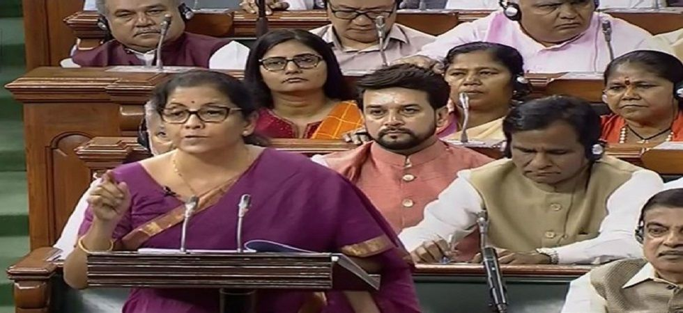 Finance Minister Nirmala Sitharaman during her budget speech in Parliament
