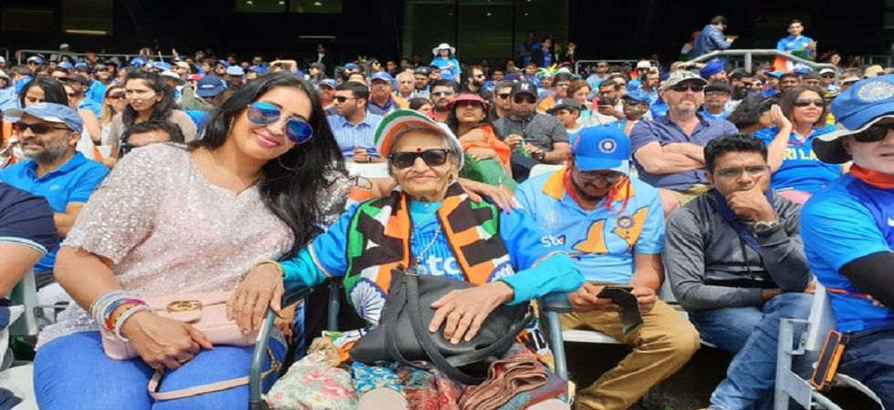 India's 87-year-old superfan, Charulata Patel, was in attendance for the India vs Sri Lanka World Cup clash in Leeds. (Image credit: BCCI Twitter)