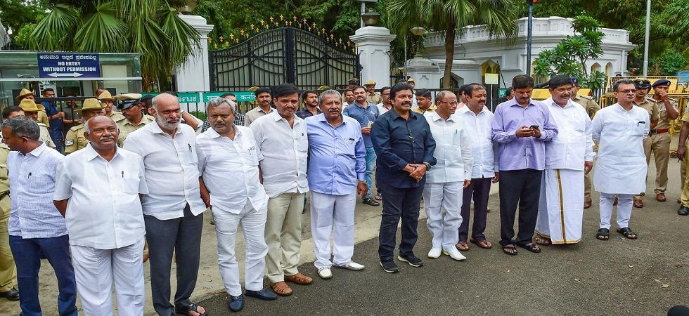 Dissident MLAs from JD(S) and Congress in Bengaluru on Saturday. (PTI)
