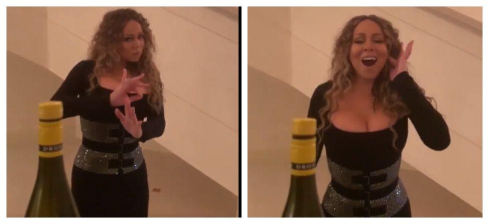 Mariah Carey taking 'Bottle Cap Challenge' (Photo: Twitter)
