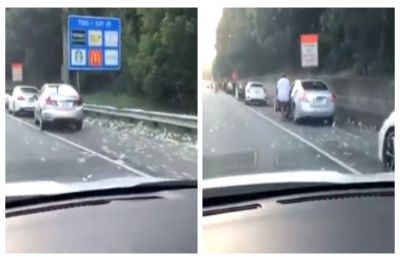 Truck full of money accidentally spills cash on highway, passersby flock to pick up notes, WATCH