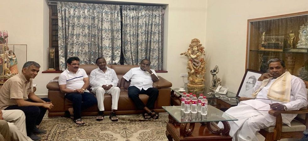 Karnataka CM HD Kumaraswamy, Congress leaders Siddaramaiah, Zameer Ahmed Khan and Krishna Byre Gowda meet rebel Congress MLA MTB Nagraj.
