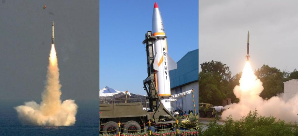Left - K series missile, Centre - Prithvi Missile,  Right - Prithvi Missile (Photo Credit: Twitter)