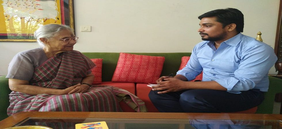News Nation journalist Raghwendra Shukla with former Delhi CM Sheila Dikshit at her residence in Delhi.