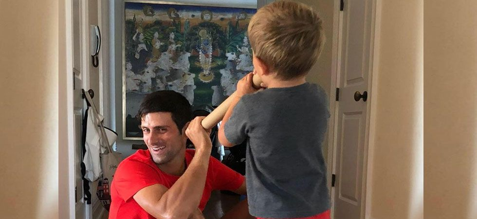 Novak Djokovic had shared this viral image showing Lord Krishna in the background in 2018. (Photo: Twitter/@DjokerNole)