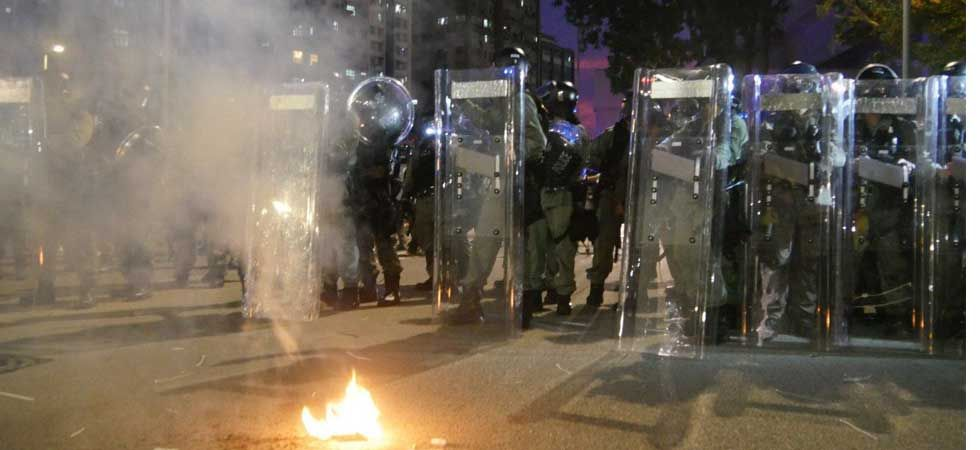 Riot police used tear gas shells and rubber bullets on protesters. (Photo: Twitter/@HongKongFP)