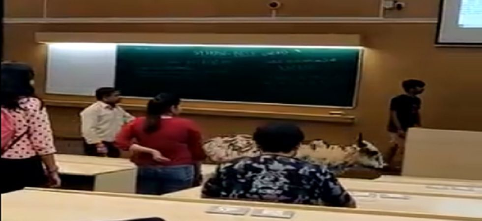 A cow entered in the classroom of IIT Bombay, leaving students in a state of confusion. (Photo: Screengrab)