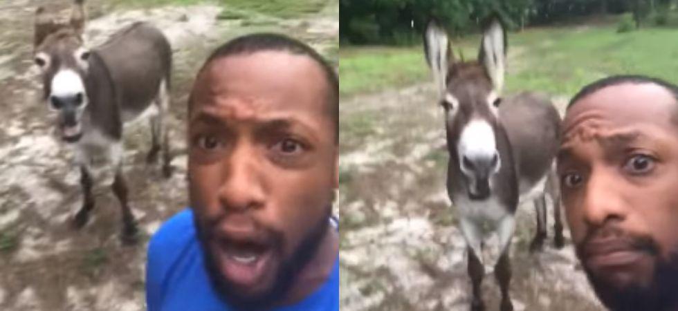 A man and his donkey sing 'Circle Of Life'. (Image: Facebook)