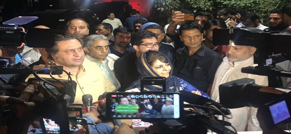 Mehbooba Mufti with Sajad Lone, Shah Faesal outside Raj Bhawan (Credits: Twitter@MehboobaMufti)