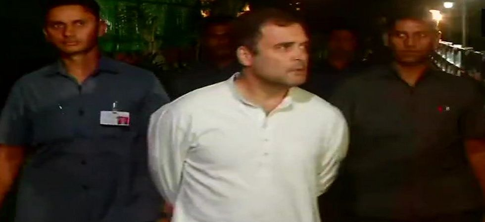 Rahul Gandhi arrives for Congress Working Committee (CWC) meeting on Saturday night. (ANI/Twitter)
