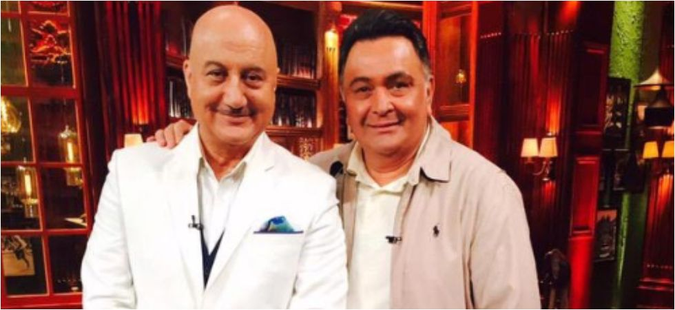 Rishi Kapoor releases Anupam Kher's autobiography in New York.