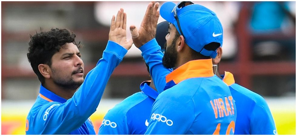Bhuvneshwar Kumar and Kuldeep Yadav were the stars with the ball as India won the second ODI by 59 runs via DLS method to take a 1-0 lead in the series. (Image credit: Twitter)