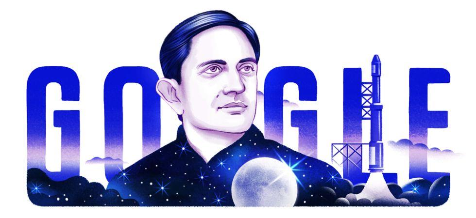 Google Doodle celebrates Vikram Sarabhai's 100th birthday (Photo Credit: Google)