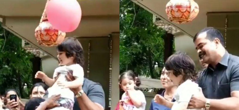 Kareena Kapoor's son Taimur celebrates Janmashtami. (Image: Instagram/ Manav Manglani)