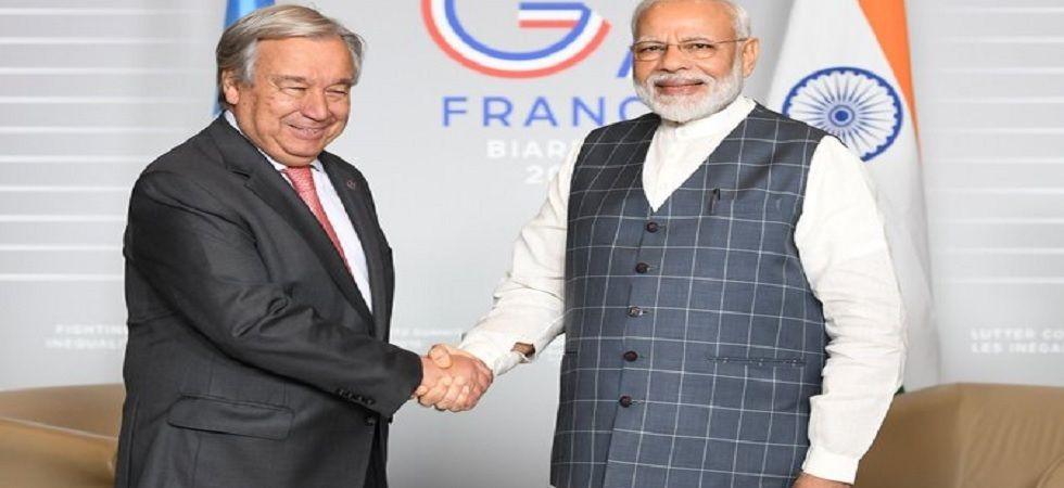Prime Minister Narendra Modi with UN Secretary General Antonio Guterres. (Twitter)