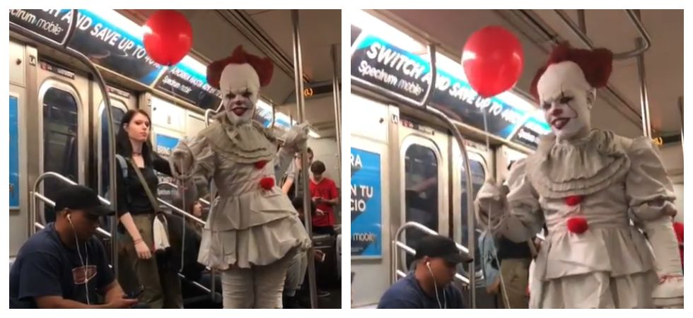 Pennywise strolls through subway (Photo: Instagram\subwaycreatures)