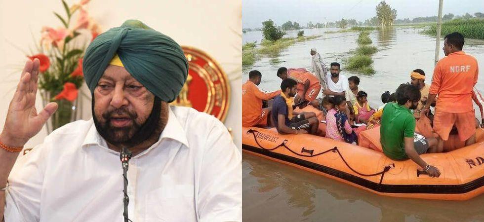 Punjab Floods & CM Amarinder Singh (Photo Credit: Twitter)