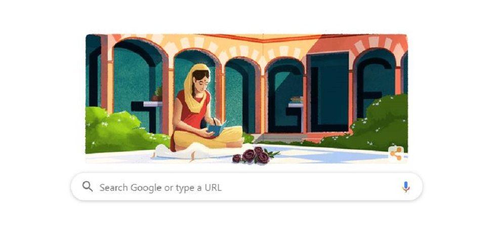 Google Doodle on noted Punjabi writer Amrita Pritam (Screen grab)