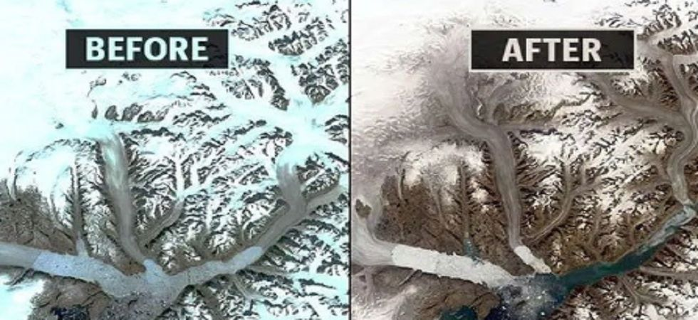 According to NASA, the differences in colour between the two images indicate that the surface of the glacier has melted. (NASA)