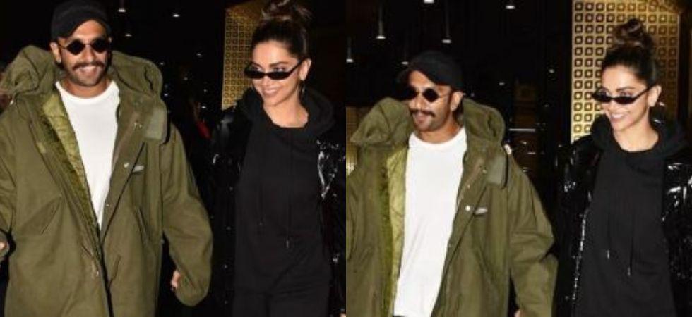 Deepika Padukone and Ranveer Singh at the airport. (Image: Viral Bhayani/Instagram)
