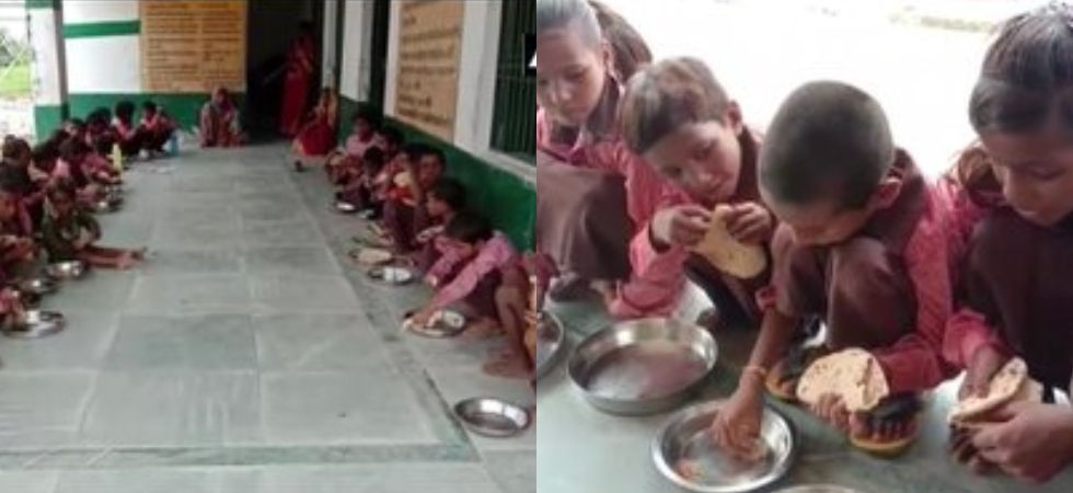 The video showed students at primary government school in Mirzapur being served plain chapatis and salt under midday meal scheme. (Photo credit: ANI)