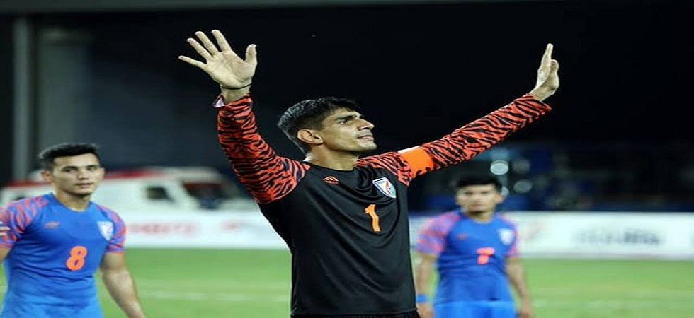 Gurpreet Singh's heroics helped India earn their first point in the ongoing FIFA World Cup qualifiers. (Image credit: Twitter)