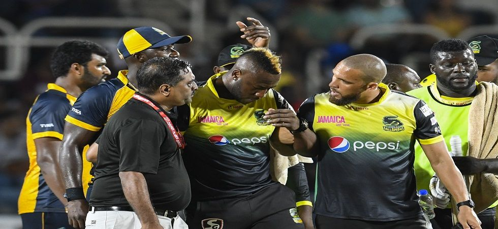 Andre Russell was taken to hospital but has been declared alright after being hit on the side of the head by a bouncer from Hardus Viljoen in the CPL. (Image credit: Getty Images)