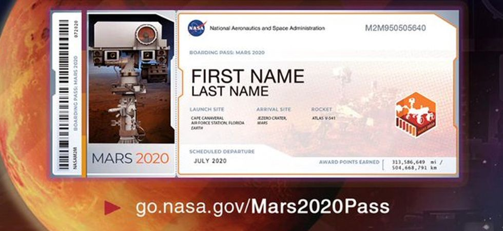 NASA has announced that people can send their names to the Red planet aboard its Mars Rover 2020. (Image Credit: Twitter)