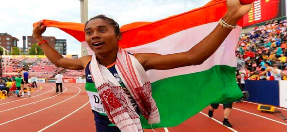 Hima Das won the gold medal in the 4X400 m relay in the 2018 Asian Games. (Image credit: Twitter)
