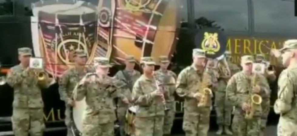 American Army band playing Indian National Anthem (Image: ANI)
