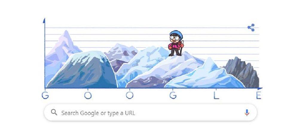 Google Doodle on Junko Tabei (Screen grab)