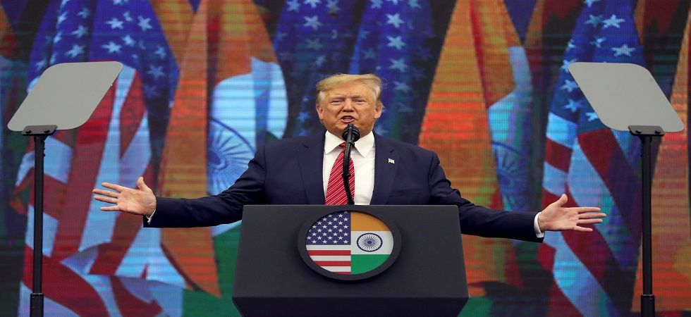 US President Donald Trump at the 'Howdy, Modi' event in Houston on Sunday. (Reuters)