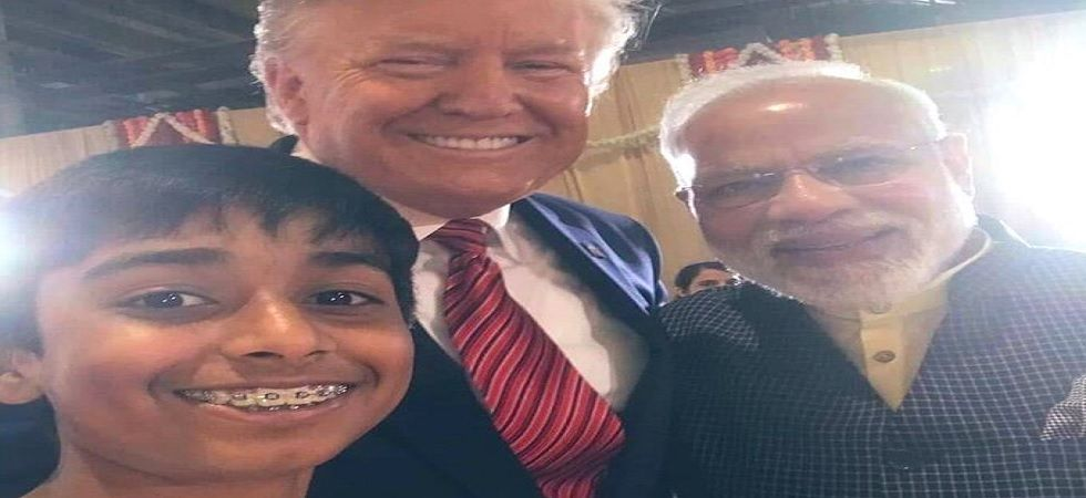 9-year-year-old Satvik Hegde with Donald Trump and PM Modi. (Photo: Twitter/Anurag Thakur)