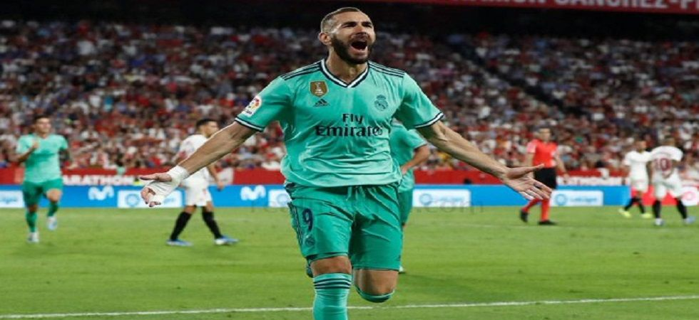 Karim Benzema scored his fifth goal in the 2019/20 La Liga as Real Madrid defeated Sevilla. (Image credit: Twitter)