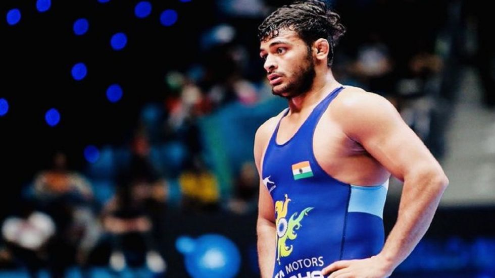 Deepak Punia had to pull out of the World Wrestling Championship final after suffering an ankle injury. (Image credit: Twitter)