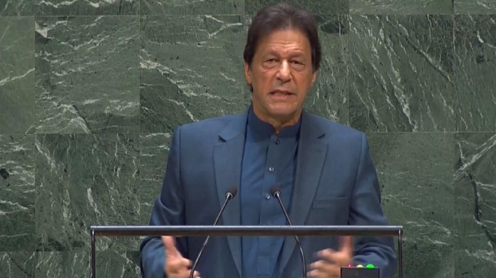 Pakistan Prime Minister Imran Khan at UNGA on Friday.